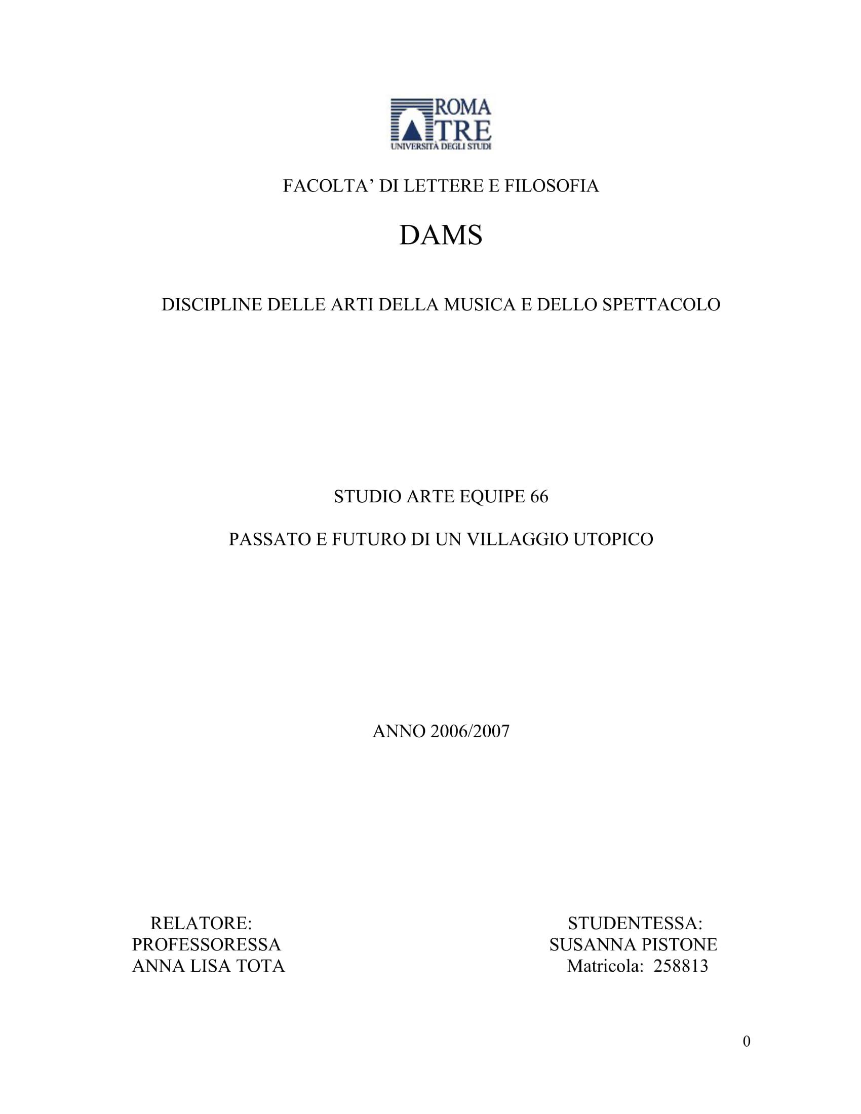 Tesi di Laurea Susanna Pistone a.s. 2006/2007